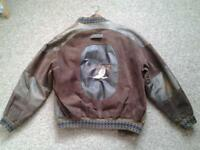 Leather mens jacket, casual bomber style