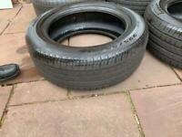 2 x 225/55 R17 run flats tyres part worn