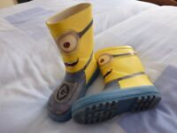 Wellies, Children's / Toddler size 11. Yellow Minion character.