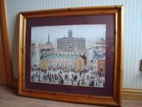 Lowry print in pine frame