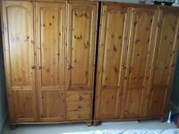 ANTIQUE COLOURED PINE BEDROOM FURNITURE EXCELLENT CONDITION