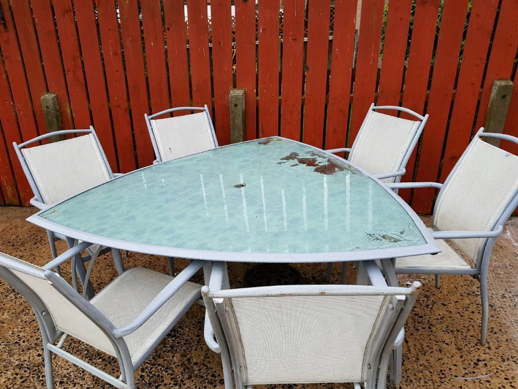Metal frame table an 6 metal frame sticking chairs | in Newtownabbey ...