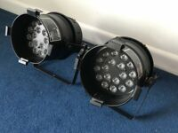 Pair of Chauvet UV LED PAR38 18UVB Par Can Stage DJ Lights