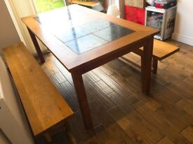 Very Solid Dinning Table and Benches (good condition)
