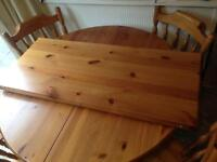 Country pine extendable table and 6 chairs