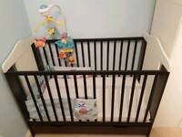 Cot bed with mattress and extras
