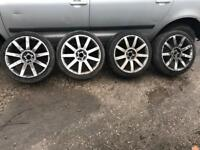 AUDI/VOLKSWAGEN/SEAT/SKODA/VW 18INCH MULTI FIT RS4 STYLE ALLOY WHEELS WITH NEAR ENOUGH NEW TYRES
