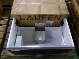Absolutely stunning Laufen high gloss black and white washbasin cabinet. Brand new in box 77cm