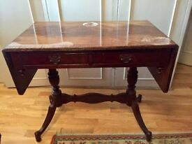 Mahogany extendable 2 drawer sofa table w/ attractive legs & Broad crossbanding. Needs revarnishing.