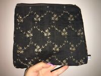 Black Soft Clutch Bag with Gold Embroidery