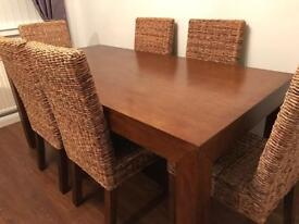 Table, 6 chairs & cabinet to match