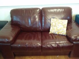 2 x Real brown leather sofa