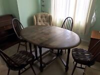 Gateleg table & 4 Chairs table top needs revarnishing £50 To be collected from