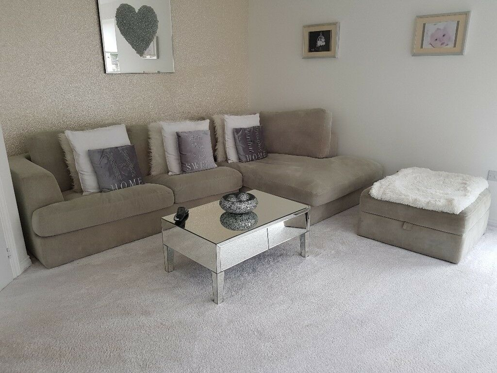 Grey Next Corner Sofa Removable Washable Covers Foot Stool Also