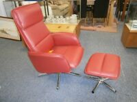 Ex-display red leather office style reclining swivel chair with footstool, in excellent condition