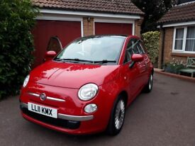 Fiat 500 Lounge, 1.2 (2011), Petrol, 3 door hatchback, Retractable glass sunroof, Red, Manual