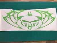 "Tribal skull windscreen vinyl sticker 32""x 12"""