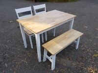 Solid Wood Oak/White Table 2 Chairs & Bench Set FREE DELIVERY 368