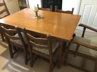 Large dining room table with 6 chairs