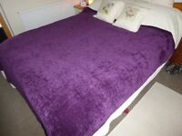 Purple Chenille Bed Throw 200mm x 200mm New with Tags, luxurious feel and look, very soft and pretty