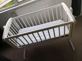 White Mothercare Swinging Crib