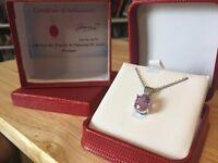 Stunning 4 CT Kunzite & Diamond 18K White Gold Necklace