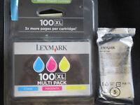 Original and unopened Lexmark 100XL printer ink cartridges