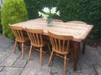 Antique OAK 8 seater dining table SOLID WOOD shabby chic FARMHOUSE