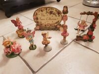 Collection of 6 little fairy ornaments and sign