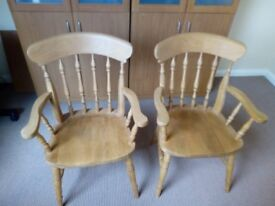 TWO MATCHING CARVER CHAIRS HAND MADE IN ELM