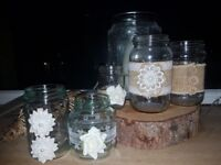 10 Vintage/Rustic Wedding Jars for Candle or Flower Centrepieces