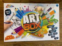NEW Grafix 42 PIECE Art Box: Paints, brushes, palette, artist pencils, Sketch Pad & blank Canvases