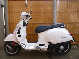 Piaggio Vespa GTS 300 super, 58 reg, 2008, new exhaust, only 2 owners, white, Mot March 2018, £1595
