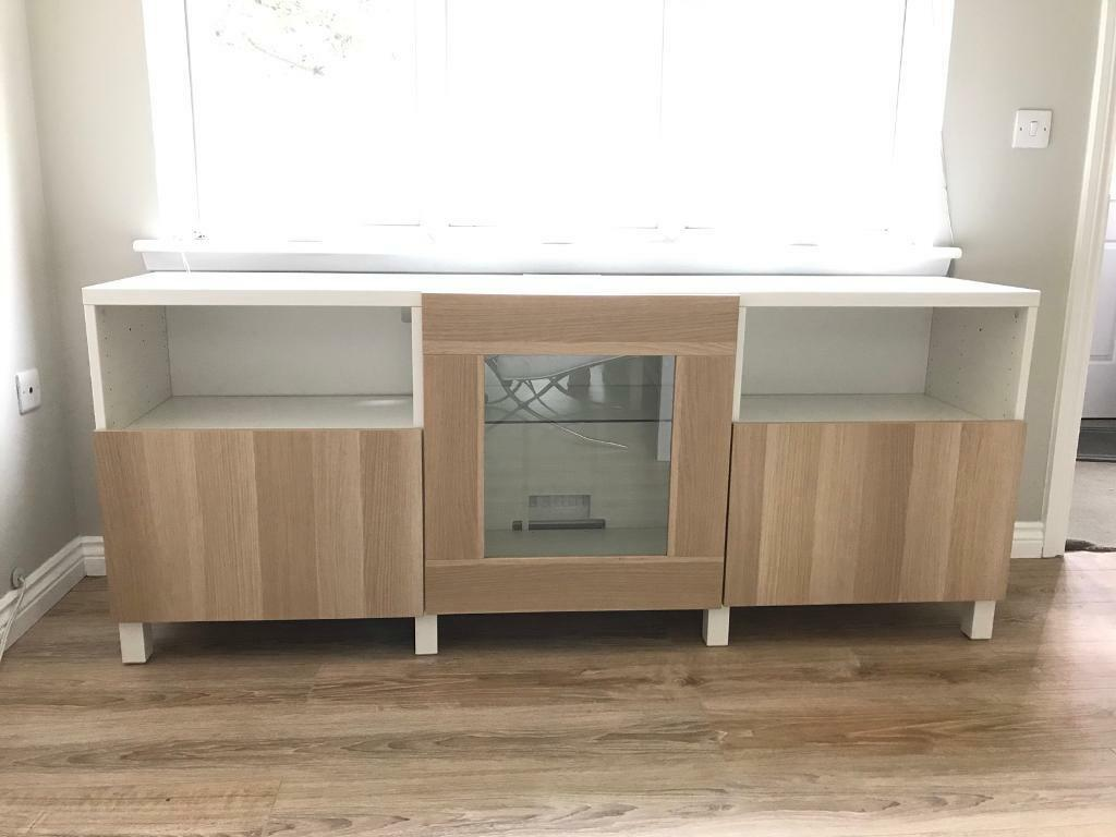 modern sideboard/large tv unit from ikea besta range. white and
