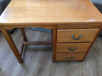 Vintage solid wood 3-drawer desk with pull out slate