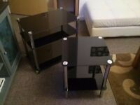BLACK GLASS TV STAND AND MATCHING SIDE TABLE