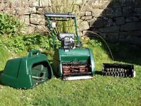 Atco Balmoral 145 cylinder lawnmower with scarifier attachment