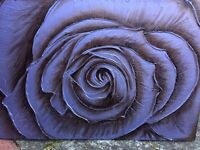 Hand painted purple rose canvas