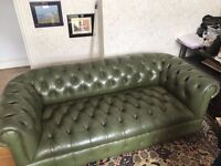 3+2 Seater Suite Stunning Chesterfield Vintager in Green Leather Suite,Possible Delivery