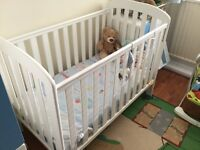 White East Coast babies cot with mattress. Drop down side and teething rail. Good condition