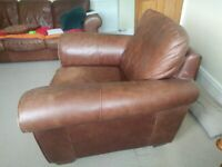 Leather Armchair and stool ( buy together or single item)