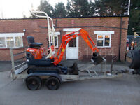 Kubota K008-3 micro digger with or without trailer.