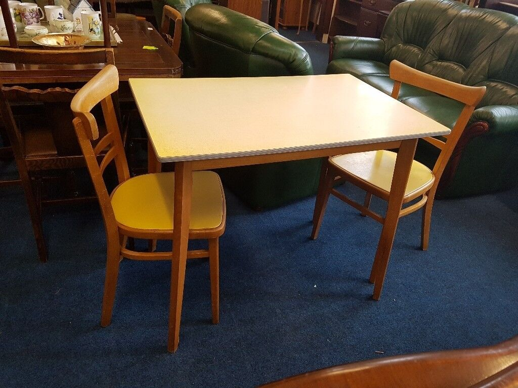 retro formica kitchen table with 2 chairs in yellow  in