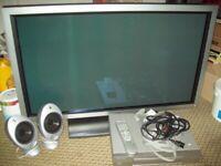 "Pioneer 44"" Plasma Tv -Needs New Switch- Spares Or Repair"