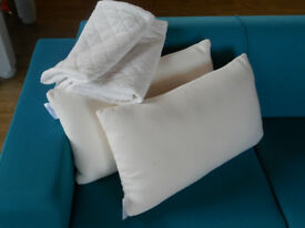 Memory foam pillows and quilted pillow protectors