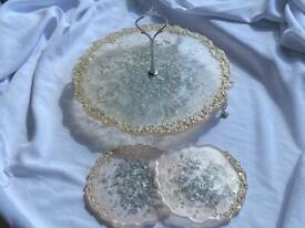 Cake stand with resin handmade