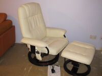 Armchair Faux Leather Swivel Heated Massager with Massage Foot Stool