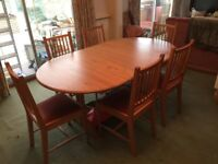 Solid Elm Dining Room Table And 10 Chairs