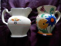 2 hand painted jugs