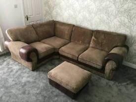 Brown beige corner sofa with foot stool